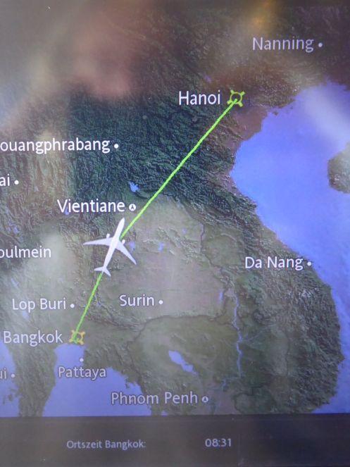 Streckenanzeige im Flugzeug