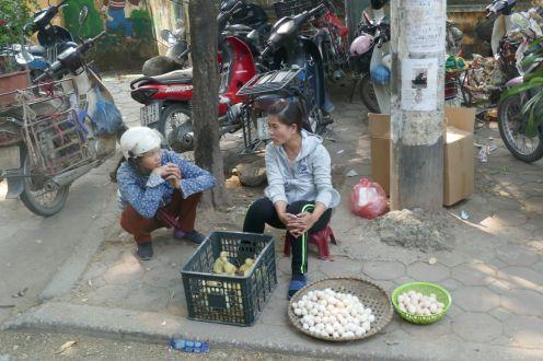 Hanoi - Händlerin mit Eiern und Jungtieren