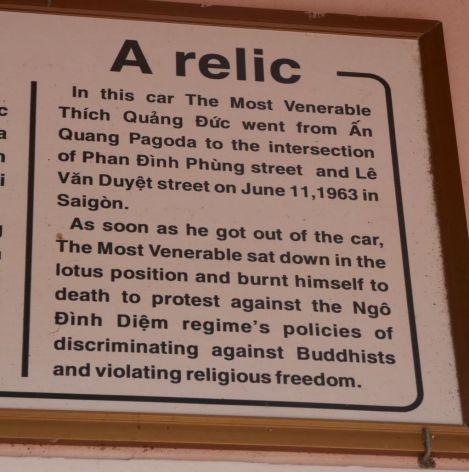 Hue - Gedenktafel Selbstverbrennung buddhistischer Mönch